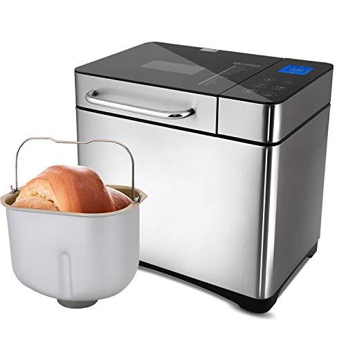 Brotbackautomat 710 Watt,1000g Brotgewicht, 19 Backprogramme Brotbackmaschine Brotbäcker mit 15 Stunden Timing-Funktion, Automatische Zutatenbox und LED Bildschirm (Silber 2)