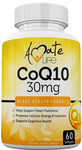 Coq10 Ubiquinone Coenzyme Q10 Supplement 30mg for Heart Health, Cellular Energy, Blood Pressure, Cholesterol Level & Cognitive Health for Men & Women - Heart Health Formula 60 Softgels by Amate Life