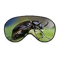 Bug カブトムシ 女性男性ファッションライトブロックスリープアイマスク、柔らかく快適な目隠しアイカバー旅行/瞑想/シフト作業