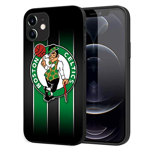 Phone Case for iPhone 12 iPhone 12 Pro, Ultra-Thin Printed Acrylic Rear Panel Shockproof, with Soft TPU Bumper Military Cover for iPhone 12/12 Pro Only 6.1 inches (Celtics-Black)