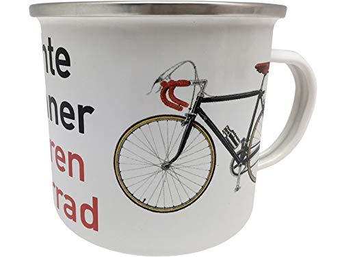 Blechwaren Fabrik Braunschweig GmbH Emaille Becher - Echte Männer Fahren Fahrrad - EB19 emaillierte Tasse 0,5l