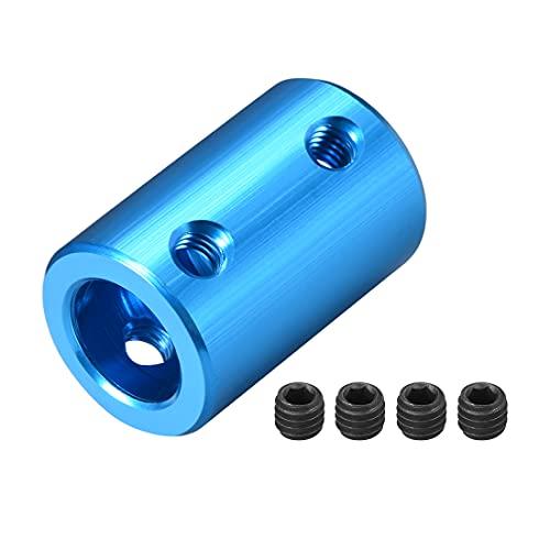 sourcing map Schaft Kupplung Roboter Motor Rad Starr Koppler Blau 8mm zu 10mm Bohrung L25xD16