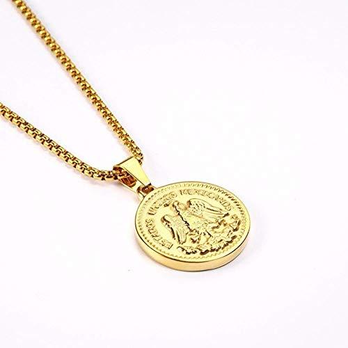 Stijlvolle eenvoud RVS Retro Kleur Ronde Contour Hanger Ketting Unieke Creatieve Pure Coin, MN Goud
