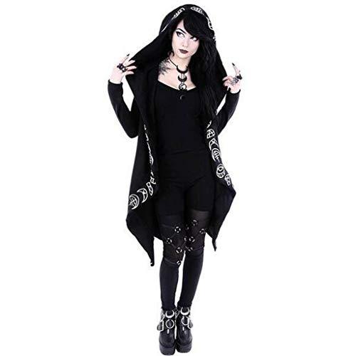 Punk Impression à Capuchon, LEXUPE Femmes Manches Longues Punk Lune Print Cardigan à Capuche Noire Veste Manteau Taille Plus(Noir,XXXX-Large)