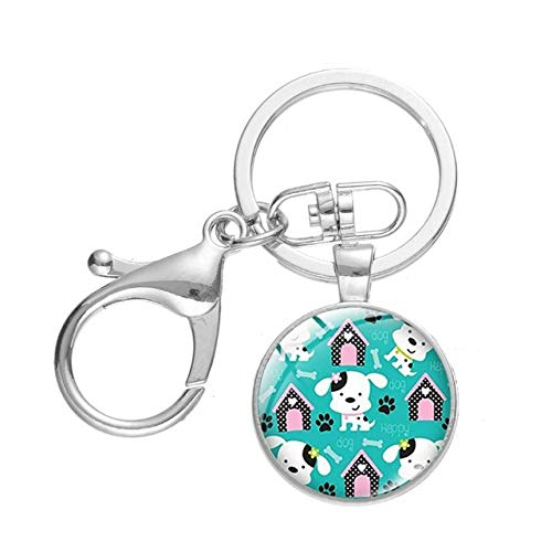 Creative Bone Animal Paw Picture Keychain Lovely Cat Dog Footprint Cartoon Design Glass Dome Pendant High Quality Key Chain