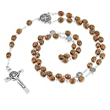 Collar de medalla de San Benito religioso colgante con cuentas de rosario de madera antiguas collares cruzados regalo de joyería católica para mujeres