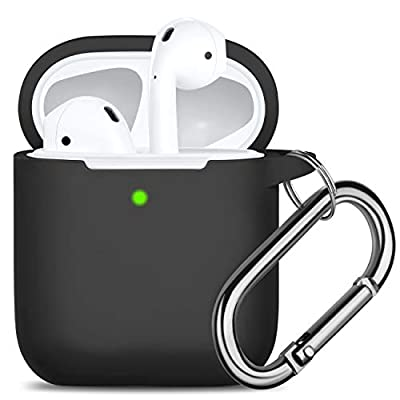 Oielai for Airpod Case, [Front LED Visible ] Waterproof Protective Cover Cute Silicone Cases Skin with Keychain Compatible with Apple Airpods 2 & 1, Men Boy Black, Black by Oielai