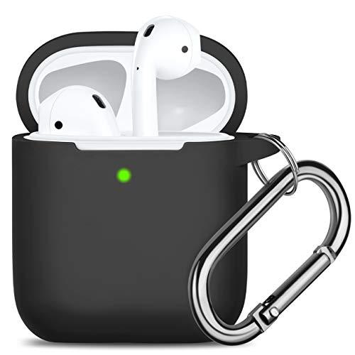 Oielai Kompatibel mit Airpods Hülle, [Unterstützt kabelloses Laden] Stoßfeste Schutzhülle Ersatz Silikon Hülle Kompatibel mit Apple Airpods 2 & 1, mit Karabiner, Schwarz