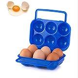 Chilbrisad エッグホルダー たまごケース 手で提げることができる 卵ケース アウトドア お弁当 携帯用 タマゴケース 生卵 温泉卵 ゆで卵ケース キャンプ ピクニック 耐衝撃性 折り畳み式 収納ケース(6グリッド) 1個