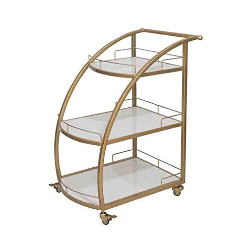 BXU-BG Carro de metal comercial para restaurante móvil de cocina, vino, té, agua, carrito de hotel, carrito de suma tenue (dorado, tamaño: 56,5 x 62,5 x 89 cm)