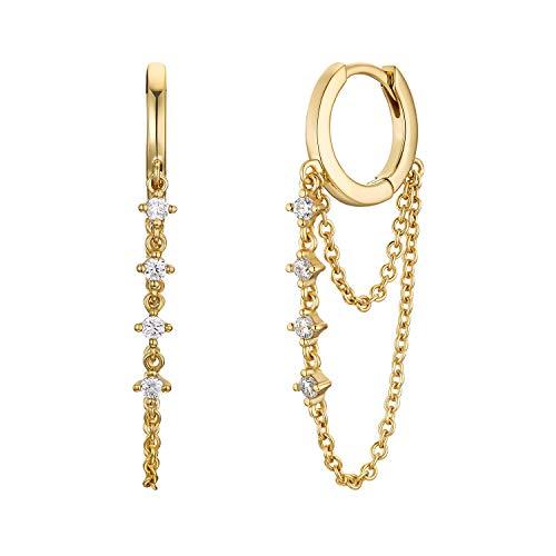 NOELANI Pendientes de aro para mujer, plata de ley 925 chapada en oro, circonitas