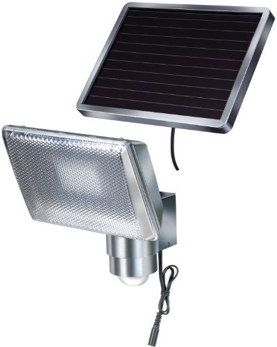 Brennenstuhl LED-Strahler SOL / LED-Leuchte für außen mit Bewegungsmelder und Solar-Panel (IP44, inkl. Akku, 8 x 0,5W) aluminium