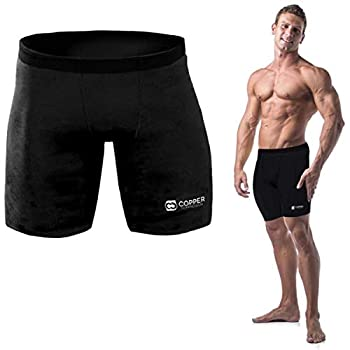 Copper Compression Recovery Shorts Underwear Tights Boxer Briefs Fit for Men Black