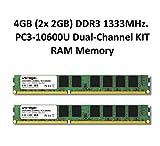4GB (2X 2GB) Dual Channel kit DDR31333MHz PC3–10600u 240pin 2Rx8PC RAM Memory memoria ram