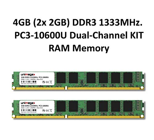 4 GB 2 x 2 GB Dual Channel Kit DDR3 1333 MHz