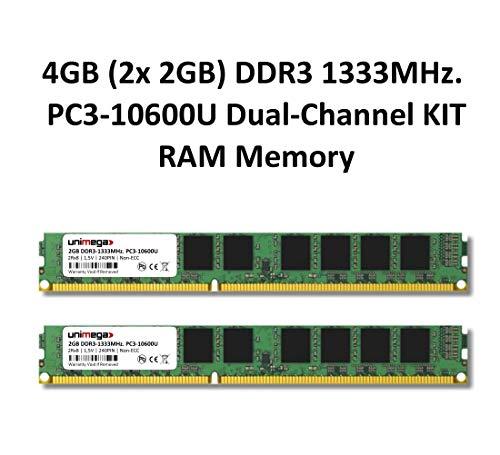 Memorycity - Memoria RAM DDR3 para PC (2 módulos de 2 GB, 1333 MHz, PC3-10600U, 240 pines, 2Rx8, CL9, 1,5 V, no ECC)