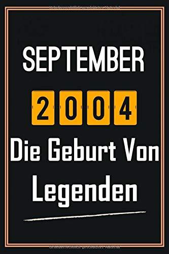 September 2004 Die Geburt von Legenden: 16. geburtstag geschenk jungs mädchen, geschenkideen für 16 jährige Bruder Schwester Freund - Notizbuch a5 liniert