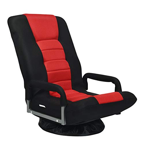 Giantex 360 Degree Swivel Gaming Chair Floor Chair, 6 Positions Adjustable Backrest, Mesh Fabric, Sturdy Iron Frame, Foldable Lazy Sofa Chair Comfortable for Lounge Reading Gaming Relaxing (Red)