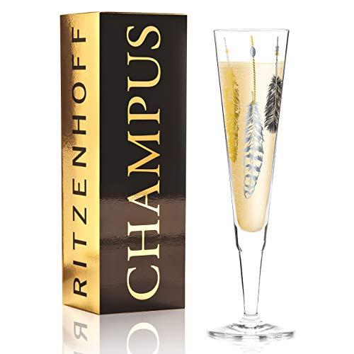 Ritzenhoff Champus Champagnerglas, Kristallglas, Schwarz, Gold, Platin, 7 cm