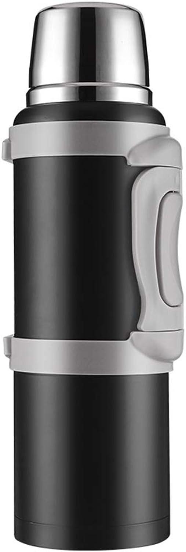 Mugs isotherme Isolant Pot 304 En Acier Inoxydable Isolant Pot Thermos Voiture Bouteille D'eau de Voyage Grande Capacité Extérieur Maison 2L A1 (Couleur   NOIR)