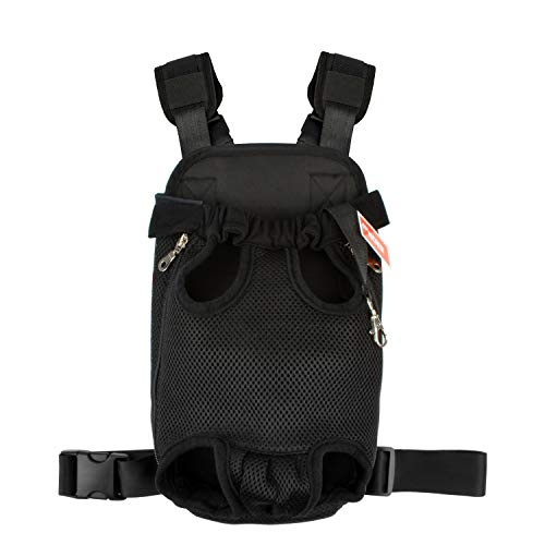 NICREW Legs Out Front Dog Carrier, Hands-Free Adjustable Pet Backpack Carrier, Wide Straps Shoulder Pads (Upgraded Black, XL)