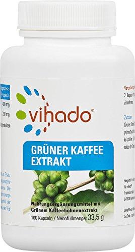 Vihado Grüner Kaffee Kapseln - reiner grüner Kaffee Extrakt hochdosiert, 100 Kapseln, 1er Pack (1...