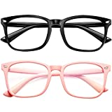 Blue Light Blocking Glasses 2pack Square Computer Glasses Women/Men, Nerd Reading Gaming Glasses Non Prescription (Black + Barbie Pink)