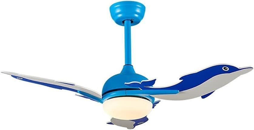 WEI-LUONG Fans de Techo Dolphin 42 Pulgadas Techo LED Ventilador de Techo con Luces Control Remoto Habitación para niños Fans de DC Lámpara Ventilador Dormitorio Frecuencia Reversible