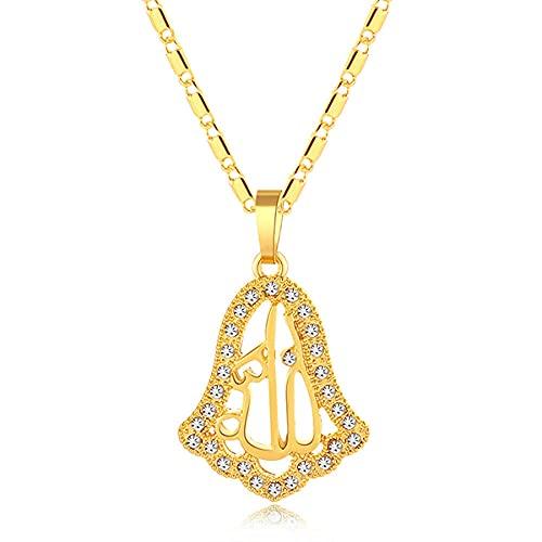 Collar con colgante musulmán del Medio Oriente para hombres y mujeres Color oro / plata joyería árabe-Gold_45CM