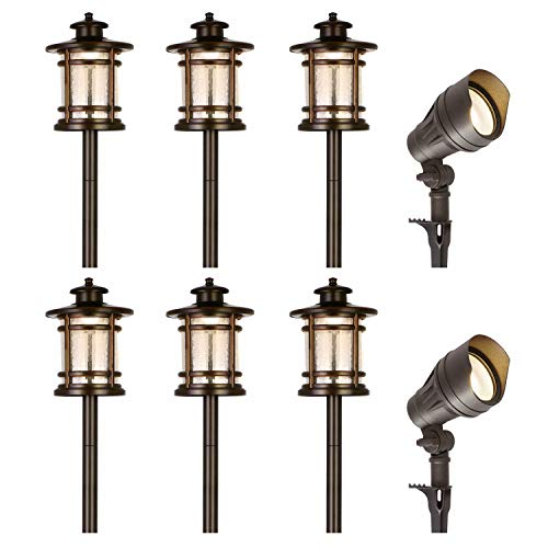 Hykolity 8 Pack Low Voltage LED Landscape Kits, 12V Pathway Flood Light Kits, 4.5W 205LM and 3.4W 155LM Wired for Outdoor Yard Lawn, Die-cast Aluminum, 30W and 30W Equivalent 15-Year Lifespan