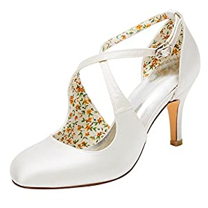 Emily Bridal Scarpe da Sposa Scarpe da Sposa Vintage Décolleté con Tacco Alto e Cinturino alla Caviglia con Cinturino alla Caviglia