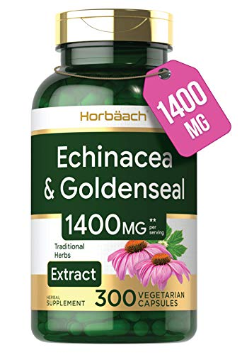 Echinacea Goldenseal Capsules | 1400mg | 300 Count | Vegetarian, Non-GMO, Gluten Free Extract Supplement | by Horbaach