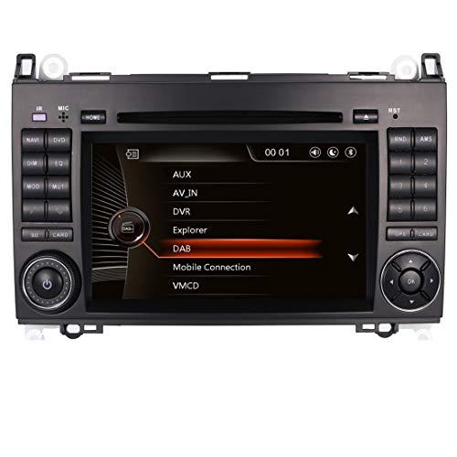 Radio Coche para Mercedes-Benz A B Classe Sprinter Viano Vito W169 W245 Autoradio con Reproductor de DVD Navegación GPS Pantalla táctil Control del Volante Bluetooth