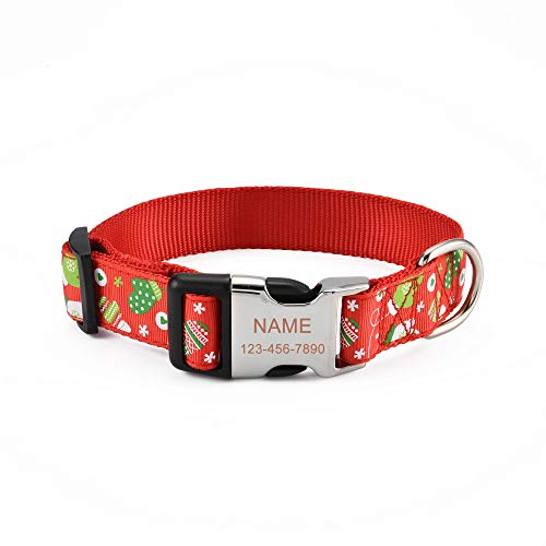 Filhome Personalisiertes Hundehalsband Weihnachts Halsband mit Hundename und Telefonnummer Längenverstellbares Collar für Hunde und Katzen Weihnachtshandschuhe/S