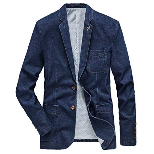 MAYOGO Herren Sakko Denim Anzug Leinenstruktur Slim Fit Männer Blazer Modern Freizeit Leichte Jackett Jacken (Blue, XXXL)