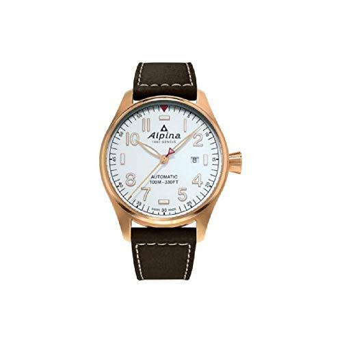 Alpina Herren-Armbanduhr 44mm Armband Leder Braun Automatik Analog AL-525S4S4