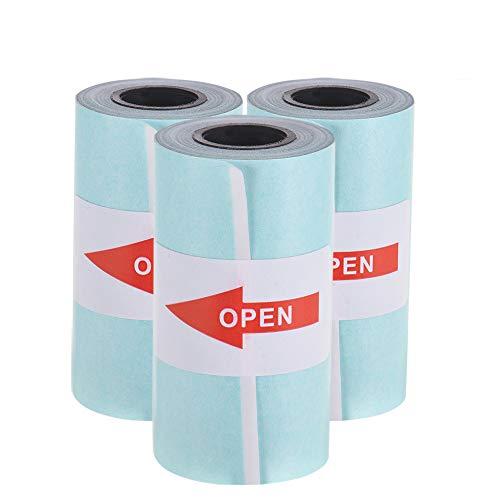 Aibecy Imprimible Etiqueta Papel Rollo Papel térmico directo con adhesivo para PeriPage A6 Impresora térmica de bolsillo para PAPERANG P1 / P2 Mini impresora de fotos, 3 rollos,Blanco