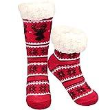 Philonext Pas de chaussettes Slipper Slip, cadeau de Noël Cerf Flocon De Neige Chaud Confortable Fuzzy Doublé Doublure Polaire Doublures D'hiver Slipper pour Femmes Filles (Rouge)