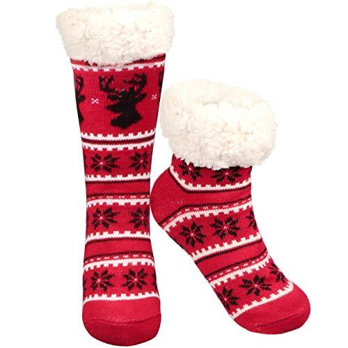 Philonext Sin calcetines antideslizantes, Regalo de Navidad Ciervos de copo de nieve...