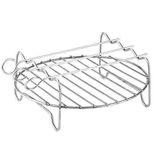 Fascigirl Airfryer Rejilla De Doble Capa Rejilla De Parrilla Redonda Rejilla De Freidora De Aire Rejilla para Cocinar Al Vapor con Pinchos