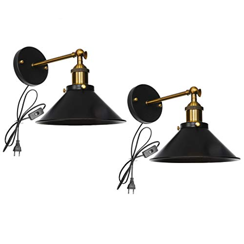 Industrial Vintage Wall Light with Cord,Mosunx Lamp 2 Pack Dimmable Metal Wall Mounted Lights with US Plug in Button Switch,Bedroom Arm Swing Wall Lights (22x13.5cm/8.66x5.31in, Black)