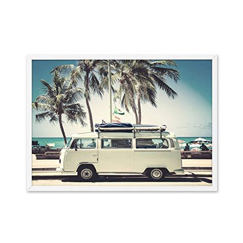 sjkkad camper Van bus zee canvas kunstdruk retro auto poster strand palmen canvas schilderij kust wandschilderijen Boho kunst wooncultuur -60x80 cm geen lijst