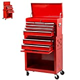 Tool Chest 8-Drawer Tool Box Rolling Tool Chest Removable Tool Cabinet, Sliding Metal Organizer Large Capacity Rolling Tool Storage Box for Garage or Small Work Shop,Red