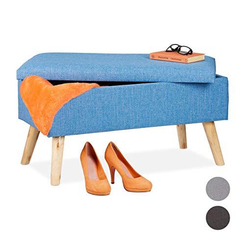 Relaxdays Sitzbank mit Stauraum, gepolsterte Truhenbank, modern, Holzbeine, Stoffbezug, H x B x T: 39 x 77 x 39 cm, blau, 1 Stück