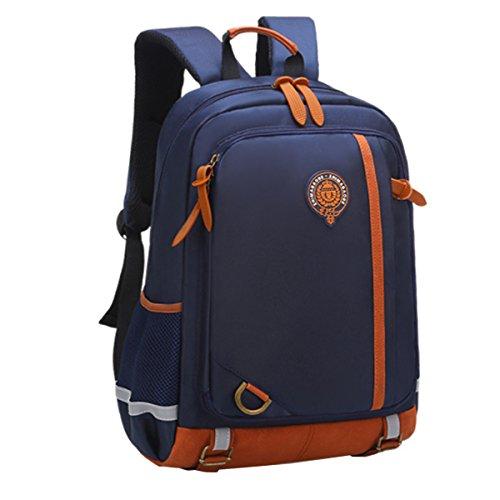 Uniuooi Primary School Bag Backpack for Boys Girls Age 5-8 Years Kids Satchel Multi Pocket Waterproof Navy Small