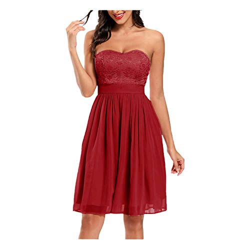Toppeed - Vestido de noche para mujer, vestido de encaje bordado, color liso, talla alta, muselina de seda, vestido mediano Du Vin S