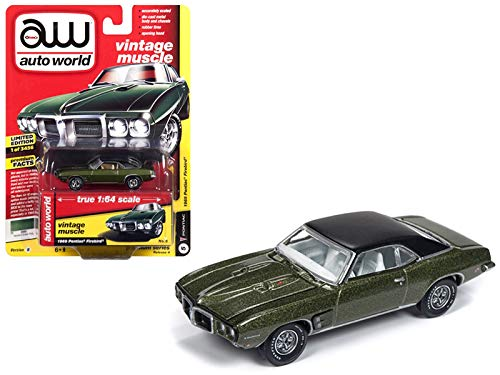 Auto World 1969 Pontiac Firebird Verdoro Green Poly Flat Black Roof Vintage Muscle Limited Edition to 3,456 Pieces Worldwide 1/64 Diecast Model Car 64192/AWSP018B