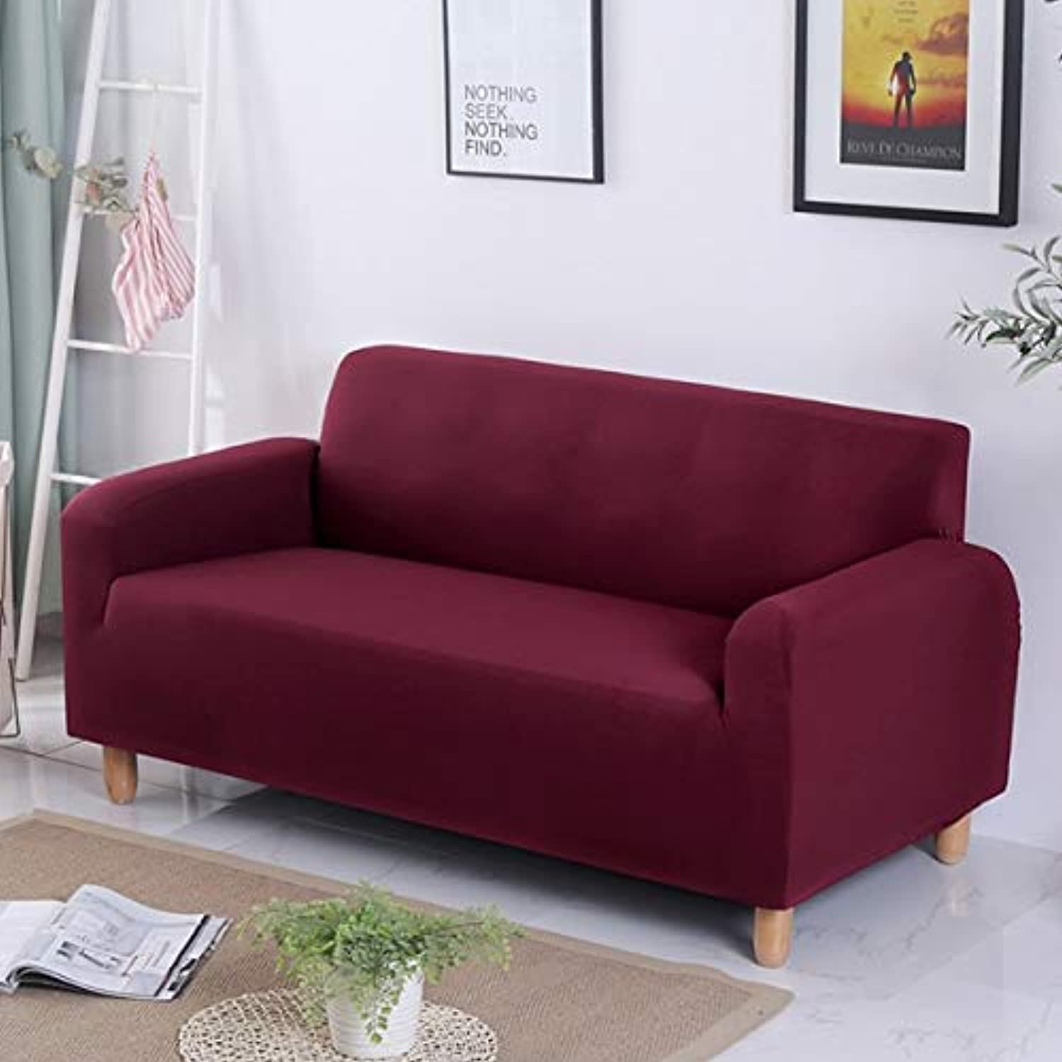 Anti-Dirty Solid color Universal Sofa Covers Couch Black Slipcover for Living Room Stretch Sofa Bed Covers Elastic Seater   Burgundy, Two Seat 145-185cm