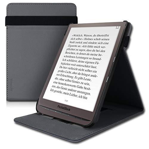 kwmobile Hülle kompatibel mit Pocketbook InkPad 3/3 Pro - Schlaufe Ständer - e-Reader Schutzhülle - Anthrazit