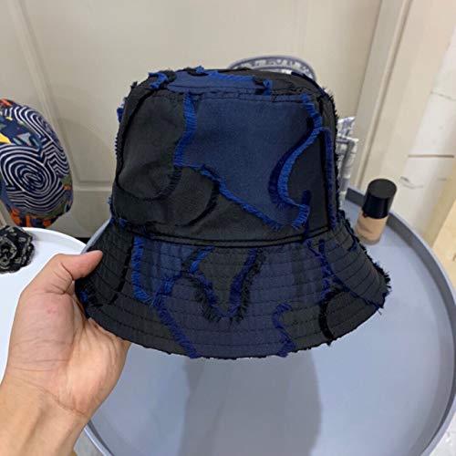 asx Sombrero de nueva era 2021 para mujer al aire libre protector solar sombrero Panamá Lady Cap marca de algodón pescador pesca caza sombrero ancho sombrero (color: azul, tamaño: 56 cm)